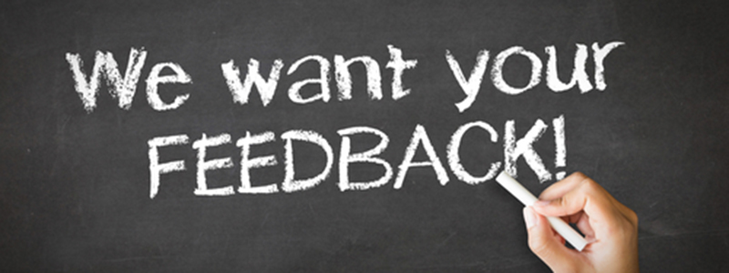 We Want Your Feedback Chalk Illustration