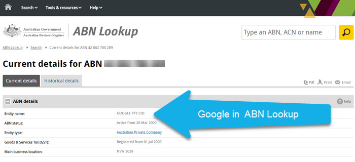 Google has an ABN to do business in Australia