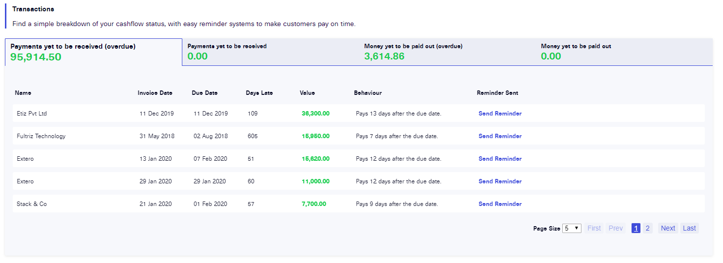 cenario invoice management screenshot 2