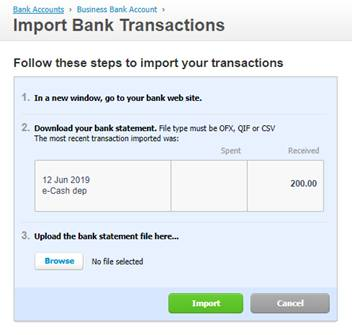import bank transactions
